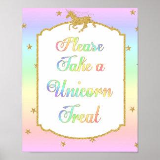 Unicorn Treats Food Table Display Sign Rainbow Poster