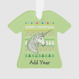 Unicorn Ugly Christmas Sweater Wildlife Series Ornament