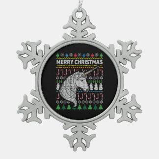 Unicorn Ugly Christmas Sweater Wildlife Series Snowflake Pewter Christmas Ornament
