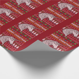 Unicorn Ugly Christmas Sweater Wildlife Series Wrapping Paper