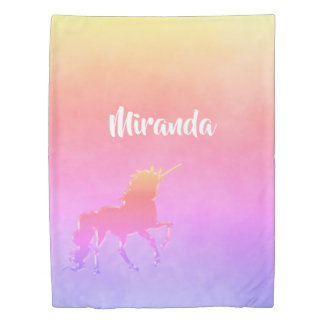 Unicorn Ultra violet peach yellow gradient name Duvet Cover