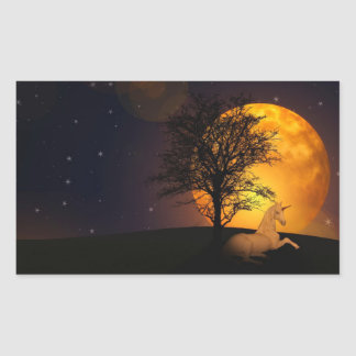 Unicorn Under Tree In Moonlight Sticker