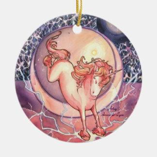 Unicorn, Universe Round Ceramic Ornament
