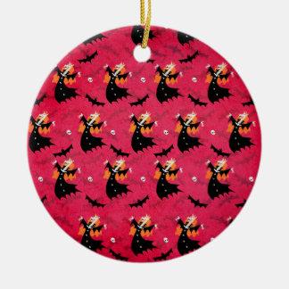 Unicorn Vampire Round Ceramic Ornament