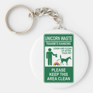 Unicorn Waste Sign Basic Round Button Keychain