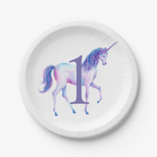 Unicorn Watercolor Personalized First Birthday Paper Plate