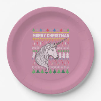Unicorn Wildlife Merry Christmas Ugly Sweater 9 Inch Paper Plate