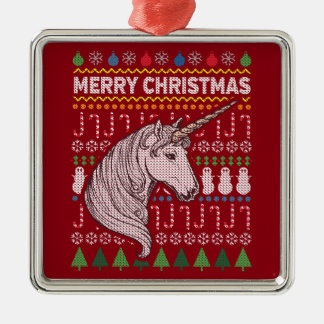 Unicorn Wildlife Merry Christmas Ugly Sweater Silver-Colored Square Ornament