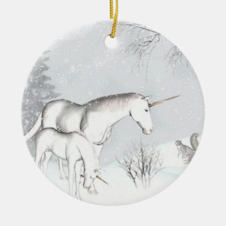 Unicorn winter Photo Ornament