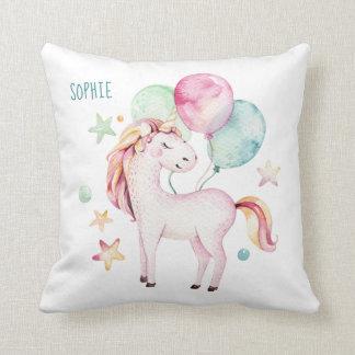 Unicorn with balloons bedroom decor + name throw pillow