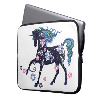 Unicorn with flowers, dark blue laptop sleeve