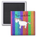 Unicorn with rainbow glitter stripes