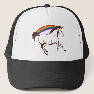 Unicorn with rainbow trucker hat