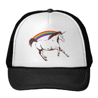 Unicorn with rainbow trucker hat