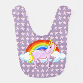 Unicorn with Stars Baby Bib