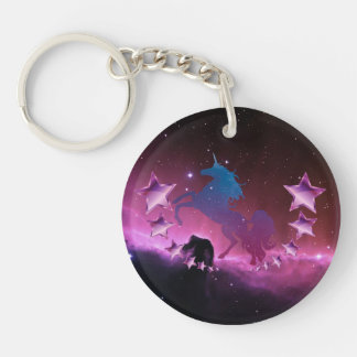 Unicorn with stars Double-Sided round acrylic keychain