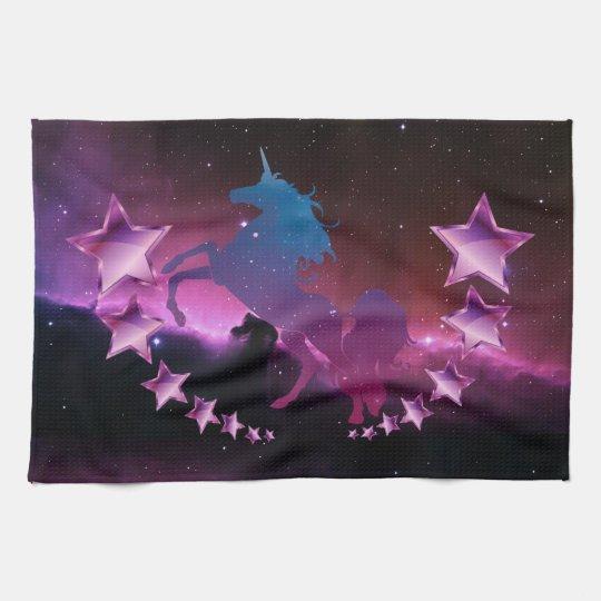 Unicorn with stars kitchen towel