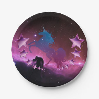 Unicorn with stars paper plate