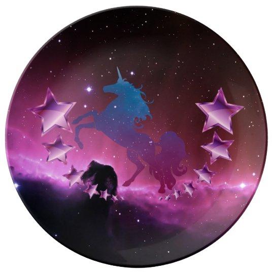 Unicorn with stars porcelain plates