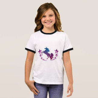 Unicorn with stars ringer T-Shirt