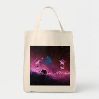 Unicorn with stars tote bag