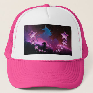 Unicorn with stars trucker hat