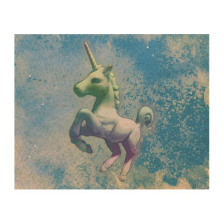 Unicorn Wood Wall Art 10x8 (Blue Arctic) Wood Print