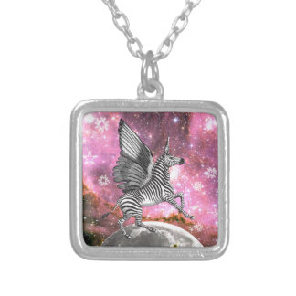 Unicorn Zebra Pegasus Silver Plated Necklace