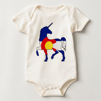 Unicorns and Colorado! Baby Bodysuit