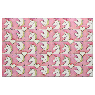 Unicorns and Hearts Fabric