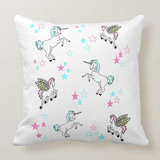 Unicorns And Pegasuses And Stars Throw Pillow