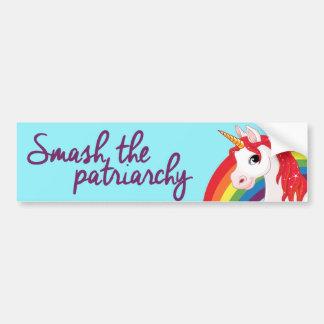 Unicorns and Rainbows - Smash the Patriarchy - Fem Bumper Sticker