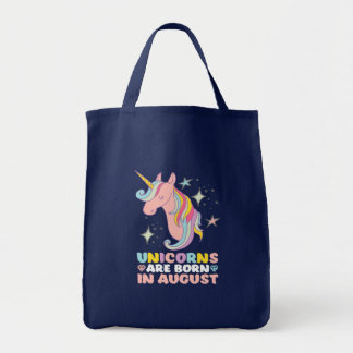 Unicorns Are Born In August Cute Birthday Girl Tote Bag