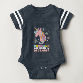 Unicorns Are Born In December Birthday Girl Baby Bodysuit