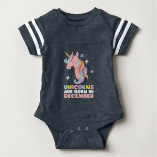 Unicorns Are Born In December Funny Birthday Girl Baby Bodysuit