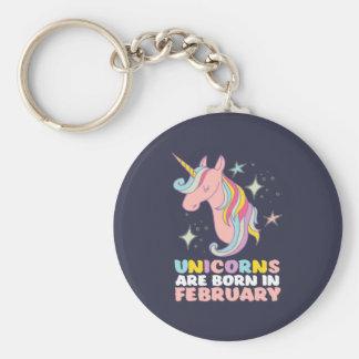 Unicorns Are Born In February Cute Birthday Girl Keychain