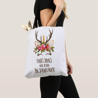 Unicorns Are Born In January. Birthday Gift. Cute. Tote Bag