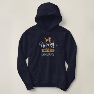 Unicorns are born in January - Calligraphy Art Hoodie