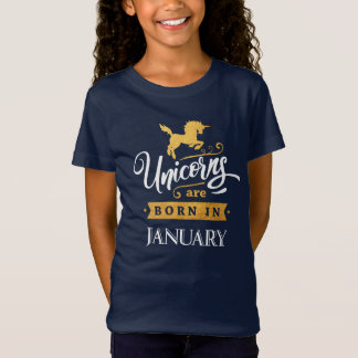 Unicorns are born in January - Calligraphy Art T-Shirt
