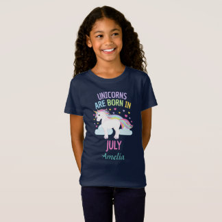 Unicorns are Born In July Personalized T-Shirt