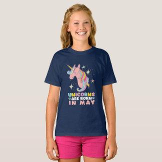 Unicorns Are Born In May Cute Birthday Girl T-Shirt