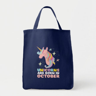 Unicorns Are Born In October Cute Birthday Girl Tote Bag