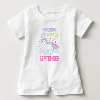 Unicorns are Born in September Cute Unicorn Baby Romper