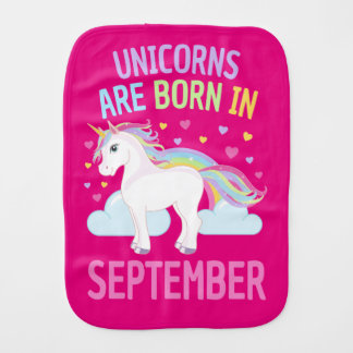 Unicorns are Born in September Cute Unicorn Burp Cloth