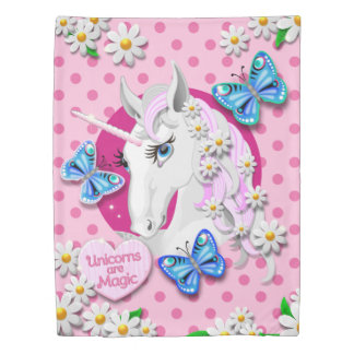 Unicorns are Magic with Pink Polka Dots Duvet Cover