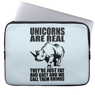 Unicorns Are Real - They're Rhinos - Funny Novelty Laptop Sleeve