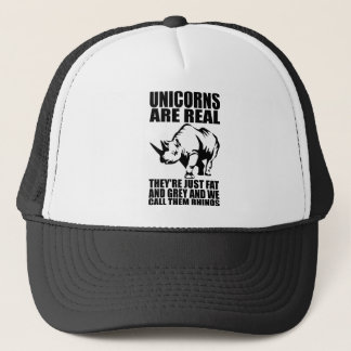 Unicorns Are Real - They're Rhinos - Funny Novelty Trucker Hat