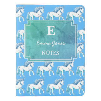 Unicorns Blue White Teal Custom Monogram Notebook