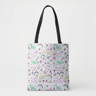 Unicorns,Dinos, Rainbows All-Over-Print Tote Bag