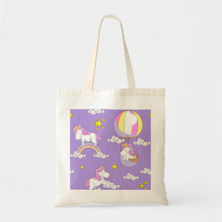 Unicorns in Balloons on Rainbows and on Clouds Tote Bag